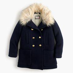 Girls' chateau faux-fur collar coat   J.Crew