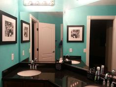 Might change up my bathroom to turquoise black and white
