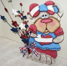 Patriotic Bear Decoration,4Th Of July Decor,Patriotic Bear,Bear Shelf Sitter,Bear Centerpiece,Holiday Centerpiece,Unique Shelf Sitter,Unique by jusbcuz on Etsy