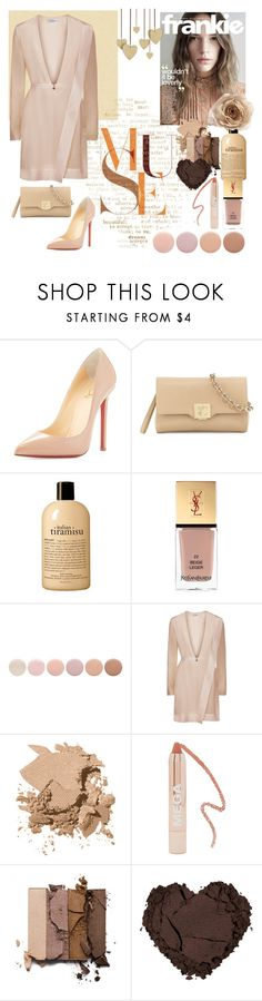 """Beige Set"" by amelia-carnero ❤ liked on Polyvore featuring Christian Louboutin, Versace, philosophy, Yves Saint Laurent, Deborah Lippmann, La Perla, Bobbi Brown Cosmetics, Forever 21, tarte and beige"
