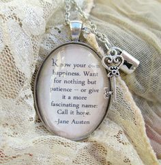 Jane Austen vintage style quote necklace