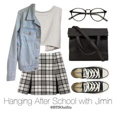 """Hanging After School with Jimin"" by btsoutfits ❤ liked on Polyvore featuring Carven, American Apparel, Converse and Alexander Wang"