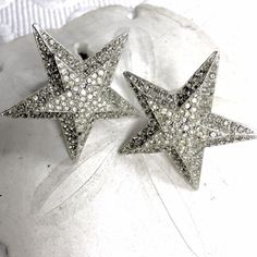 "You're A Shinning Star Vintage Clips '70's silver tone 2"" ear clips with pave rhinestones. In very good condition. One tiny stone missing on the point of the star. Price reflects this. Please see last phono. Fun sparkly babies that shine!! Jewelry Earrings"