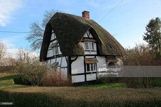 Historic half timbered thatched house, in village of Horton, Pewsey Vale…