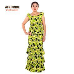 2017 Africano estilos sexy vestido bolo para as mulheres robe femmes veste roupas impressão africano cera de algodão privado personalizado plus size