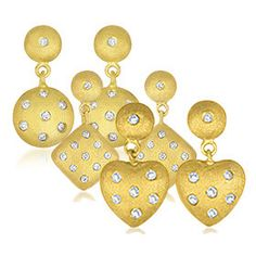 14 Karat Embossed Yellow Gold Drop Earrings with CZ Accents - Assorted Shapes