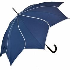 A Petal Swirl Umbrella in blue available from ww.hellobrolly.co.uk