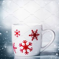 Winter holidays mug and snowflakes  by VICUSCHKA on @creativemarket