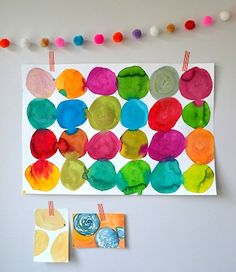 Watercolor circles art lesson for kids - a simple project with beautiful results