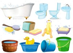 Buy Bath Set by interactimages on GraphicRiver. Illustration of bathroom equipments Barbie Doll House, Barbie Dolls, Kids Cuts, Arts And Crafts, Diy Crafts, Cute Clipart, Illustration, Diy Doll, Vector Free