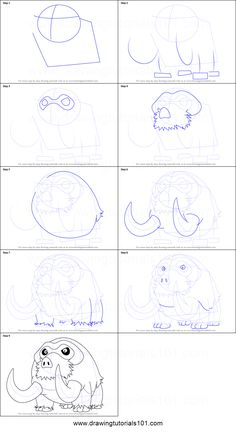 How to Draw Mamoswine from Pokemon printable step by step drawing sheet : DrawingTutorials101.com