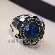 925 Sterling Silver Real Melanite Gemstone Ring Size 6 3//4