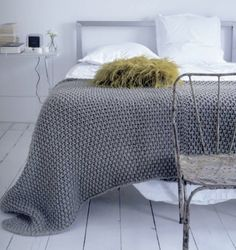 Beautiful moss stitch blanket. Simple and stunning.
