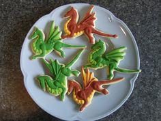 Dragon Cookies – Knits, Bits, and Bytes Dragon Birthday Cakes, Dragon Birthday Parties, Birthday Cookies, Dragon Party, Boy Birthday, Birthday Ideas, Iced Cookies, Cut Out Cookies, Royal Icing Cookies