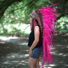 LONG PINK Indian Headdress Pink Feather Native Indian