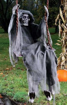 "60"" Reaper on SwingThis decoration includes a skeleton with a gray shroud on a swing that includes two hooks to hang it with.Occasion: HalloweenColor: GrayMaterial: 26% Eps Polyfoam, 13% Polyethylene,"