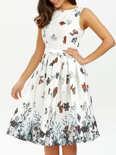 12a9ac8e4bea7 Cheap midi dress, Buy Quality white dress directly from China dress women  Suppliers: VESTLINDA White Dress Summer O Neck Belted Sleeveless Floral  Print Knee ...