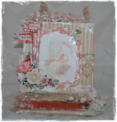 Gunns Papirpyssel, dåp, baptism, staffeli kort, card, chabby chic, vintage, Pion Design, scrapbooking, scrapping, papir, paper, papirbretting, paperfolding