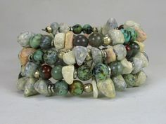 African Granite, Turquoise, Bloodstone, and Silver Memory Wire Bracelet #bc230 by SimplyAfricanJewelry on Etsy