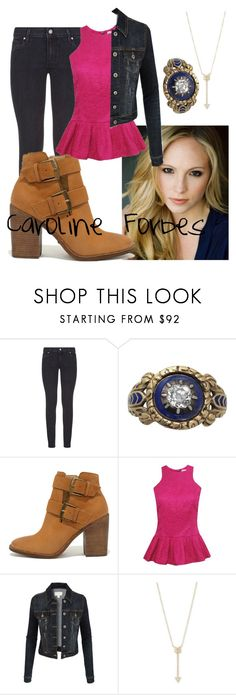 """""""Caroline Forbes"""" by kathrynrose42 ❤ liked on Polyvore featuring Paige Denim, Steve Madden, LE3NO and EF Collection"""