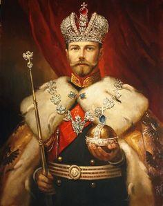 bulletproofjewels:  Tsar Nicholas II in Imperial Regalia, byPavel Ryzhenko (a contemporary artist.) {x}