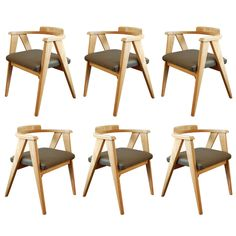 1stdibs | Six Ash Compass Chairs $3000 set of 6, includes them upholstering seats in our mohair