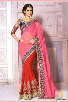 Pink blue red embroidery designer Saree is made great with embroidered, lace patti and resham works. The fabrics used are pure georgette and art silk fabrics.  #sarees #designersarees #stylishsarees #weddingsarees #onlinesarees #indiansarees #embroiderysarees #saris #partywearsarees #bridalsarees #casualsarees #silksarees
