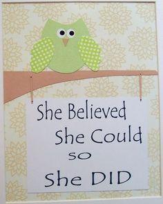 She believed she could so she did, Children's Art Decor, Baby Girl Nursery Decor, Kids Wall Art, Owl, Green, Tan, Verse, 8x10 Print. $14.00, via Etsy.