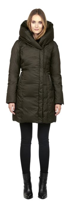 CAMYL-F5 | OLIVE WINTER DOWN COAT WITH LARGE HOOD FOR WOMEN | SOIA & KYO