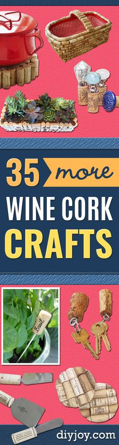 Wine Cork Crafts and Craft Ideas With Wine Corks - Cool Projects to Make With Old Wine Cork - Outdoor and Garden, Easy Wall Art, Fun DIY Gifts and Cheap Crafts for Adults, Kids and Teens http://diyjoy.com/wine-cork-crafts