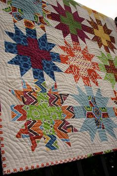 Star Crossed Stitch quilt - unwashed detail #2 by Don't Call Me Betsy, via Flickr