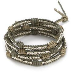 Chan Luu Five Wrap Leather Knotted Bracelet ($195) ❤ liked on Polyvore