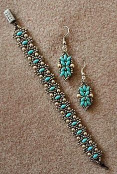 Linda's Crafty Inspirations: Bracelet and earring set: Duo Bobble Band & Loretta . Linda's Crafty Inspirations: Bracelet and earring set: Duo Bobble Band & Loretta Deco Earrings Bead Jewellery, Seed Bead Jewelry, Beaded Jewelry, Handmade Jewelry, Handmade Beads, Seed Beads, Beading Patterns Free, Jewelry Patterns, Bracelet Patterns