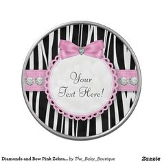 Diamonds and Bow Pink Zebra Baby Shower Candy Candy Tin