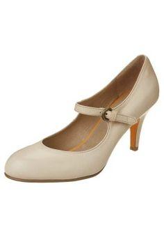 Anne Michelle Kvinnor Dam Mid Scoop Heel Peep Toe Court Shoes, Stone
