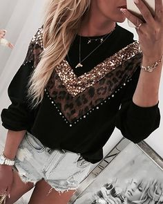 Leopard Sequins Colorblock Insert Casual sweatshirt women casual loose neck oversized hoodies Autumn 2019 pullover streetwear, Black / S Trend Fashion, Estilo Fashion, Look Fashion, Womens Fashion, Lolita Fashion, Pull Torsadé, Pulls, Pattern Fashion, Sleeve Styles