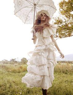 Parasol, Hat, White Feminine Dress....Lovely