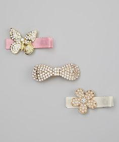 Look at this #zulilyfind! White Pearl Butterfly Clip Set by Olivia Rae #zulilyfinds