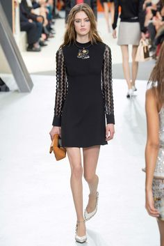 Louis Vuitton | Fall 2015 Ready-to-Wear | 38 Black long sleeve mini dress with sheer sleeves