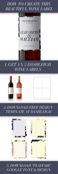 Personalize wine labels for your special day Romantic Wedding - free wine label design
