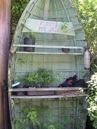 Garden Decor -Bring a Boat to your Backyard Garden Trellis, Garden Gates, Garden Art, Garden Design, House Design, Garden Shelves, Plant Shelves, Outdoor Projects, Garden Projects
