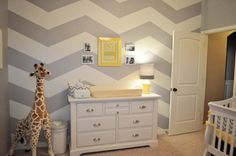 love this nursery! it would work so cute with shades of green or purple too for more boy/girl specific!