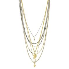 Ettika Multi Layered Mixed Metal Necklace With Pyramid And Spike Charms