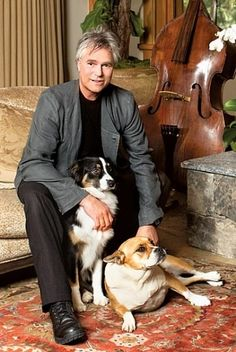 Richard Dean Anderson with his dogs, Andy and Daisy.