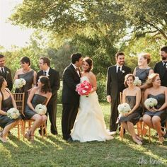wedding party in black and gray