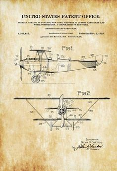 Curtiss 1919 Reconnaissance Biplane Patent - Airplane Blueprint Vintage Aviation Airplane Art Pilot Gift Aircraft Decor Airplane Poster by PatentsAsPrints: #patentartgifts  #PatentArtGifts