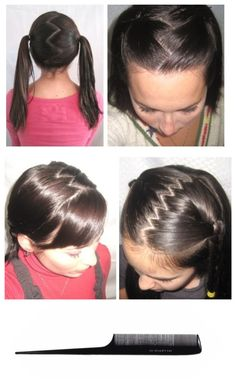 Zig Zag Hair Part - Used 2 struggle w/ this for yrs. When chemo took my hair, I ordered a wig. When it came in, she taught me how in a matter of seconds. Tilt head down, resting head on or close to chest. Then take the tip of pick like above & place it at the back of ur head. In a zig zag pattern, drag it through ur hair. When at front of hair pull apart the two separated sections & ur done. U can do small or wide zig zags too. For small, do a close zig zag & For wide, do wide zig zag.