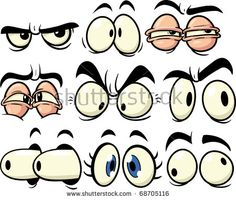 Funny cartoon eyes. All in separate layers for easy editing.