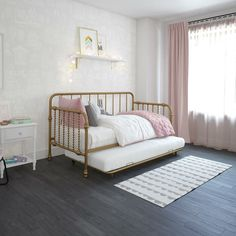 Little Seeds Monarch Hill Wren Metal Daybed with Trundle Twin, White Image 4 of 15 Metal Daybed With Trundle, Twin Trundle Bed, Small Daybed, Pop Up Trundle Bed, Twin Beds, Girls Daybed Room, Daybed Bedroom Ideas, Nursery Daybed, Kids Daybed