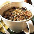 Sausage and Mushroom Soup  Strands of angel-hair pasta form a web in the broth, capturing the slices of sausage and mushroom. Red-pepper flakes give the soup its spiciness; to turn up the heat another notch, use hot Italian sausage instead of mild.